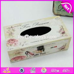 Personnaliser bon marché de gros articles ménagers en bois Boîte de tissu support/couvercle W18A006