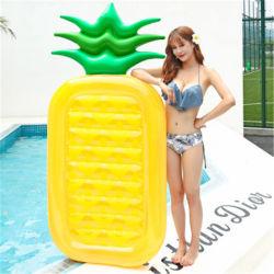 Base di galleggiamento di galleggiamento dell'acqua di riga di vendita di protezione dell'ambiente del PVC della pizza gialla calda dell'ananas del giocattolo di nuoto gonfiabile adulto della frutta
