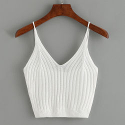 Camicetta e parti superiori sexy del Knit del collo di modo di estate della spiaggia del maglione di serbatoio della parte superiore delle donne del raccolto delle signore all'ingrosso V della parte superiore