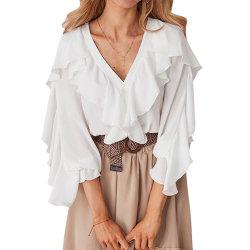 Neuer Form-Frauen-Bonbon übersteigt V-Stutzen Körper-Rüsche-Hemden und Blusen-Dame-verursachende Chiffon- Bluse