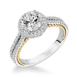 은에 14k 금 2개의 음색 달무리 다이아몬드 약혼 반지