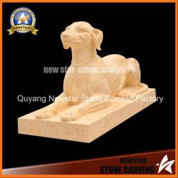 Cane di marmo beige della scultura animale di pietra della statua per la decorazione domestica