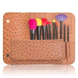 Professional 10pcs herramienta pincel de maquillaje cosmético con funda de PU