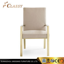 Goldenes Ende-Edelstahl-Rahmen-Möbel-Gewebe, das Stuhl speist