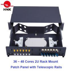 """Núcleos 24~48 19"""" 1u/2U para montagem em rack de Fibra Óptica Patch Panel ODF"""