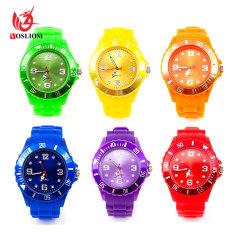 Nova chegada de silicone de gelatina Relógios de quartzo de plástico Dom promocionais relógios de Silicone -V176
