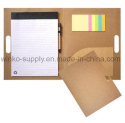 粘着性があるノートおよびファイルPockectが付いている個人化されたEcoクラフト紙A4のホールダーのメモのメモ帳