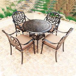 De elegante Witte Openlucht Geplaatste Stoelen van de Koffietafel Bistro van de Tulp van het Aluminium van de Gietvorm Bloemen