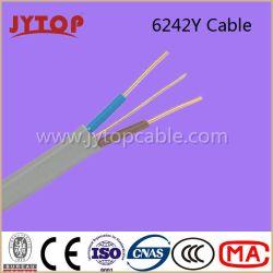Twin à plat avec câble de masse, 6242y BS6004 Fil de cuivre, isolation PVC, câbles plats avec conducteur de cuivre