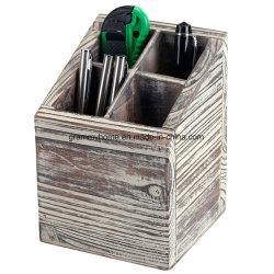 Incendié en bois rustique de fournitures de bureau Emplacement porte-crayon de plumes