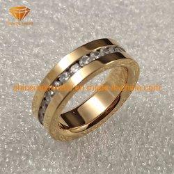 Мода ювелирные изделия из нержавеющей стали закрывается Gold драгоценными камнями CZ кольцо SSR1948