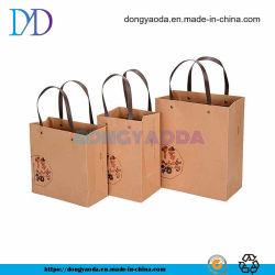 De forma personalizada impresso reciclável Embalagem padrão 200gsm Brown sacos em papel kraft com alças de algodão