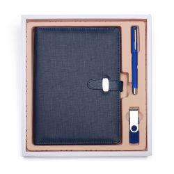 Leder-Tagebuch-förderndes Geschenk-Set des Geschäfts-A5