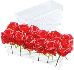 12本のばらのための透過アクリルの結婚式の花の荷箱