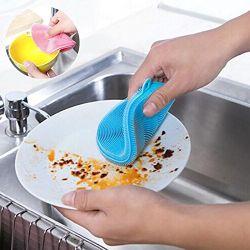 Greenwellの耐熱性シリコーンのスポンジは耐久のシリコーンのスクラバーの皿にブラシをかける