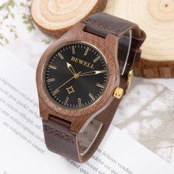 Het nieuwe Horloge van het Leer van de Heerlijke Versie van het Meisje van het Horloge van de Okkernoot van de Manier Zwarte Houten Echte