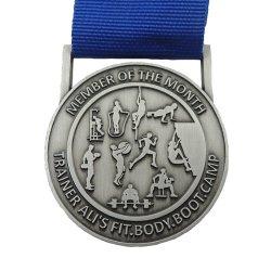 Marathon personnalisé Sports or Médaille de Métal 3D avec ruban