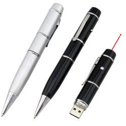 Capacidade total de promoção logotipo personalizado a alavanca multifuncional de 3 em 1 Ponteiro Laser Metal USB Caneta 8 GB