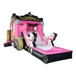 Игровая площадка на открытом воздухе ПВХ надувные упругие Сдвиньте замок для розового цвета принцесса тележки