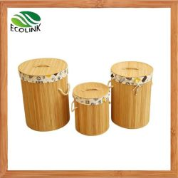 Le bambou Blanchisserie Bin chiffon ronde panier de stockage avec couvercle en bambou de l'organiseur