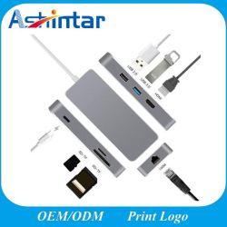 HD TFのカード読取り装置USB 3.0 RJ45 Pdの充満アダプターへの1つのUSB-C USB 3.1のタイプCのハブに付き7つ