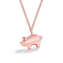 2019 سيدة جديدة مبتكرة خنزير الموضة عقد العقد حيوان بيغ زودياك بندول سلسلة جميلة من الكواربون