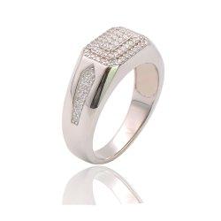 Los anillos de plata esterlina 925 Diseño clásico Micro ajuste personalizado allanar Anillo de la moda de hombre CZ