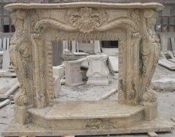 Antico pietra pietra pietra pietra pietra pietra pietra pietra travertino Camino Mantel con Tall base (QY-LS312)