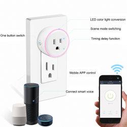 Toma de energía inalámbrica WiFi Smart Plug inteligente de salida de la aplicación de la vida de trabajo de Control Remoto con Alexa Google Portada