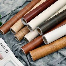 نسيج laminate مطبخ خزانة تغليف ذاتي لصق ورق الحائط ملصقات الأثاث فينيل الخشب الحبوب PVC