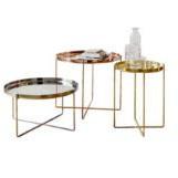 Tabela de final de metal moderno, pequenas mesas de café com Bandeja Removível