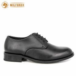 Schwarzes Voll-Korn Leder Oxford bereift Parade-Dame Shoes