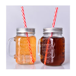 Lid와 Straw를 가진 16 Oz Glass Classic Mason Jar Mugs - Cold Beverage Drinking Glasses - Kitchen Storage Jars