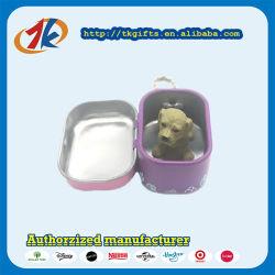 Carré de trousseau de promotion de l'étain boîte avec le fabricant de jouets Animaux chien en plastique
