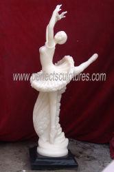 Chica bailarina de figurillas de mármol tallado en piedra escultura italiana Hotel estatua (SY-X1149)