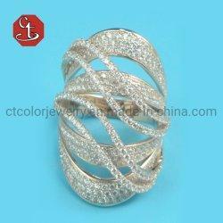 Nueva Tendencia joyas exagerado líneas geométricas Zircon Anillo de parte de la mujer regalos Accesorios