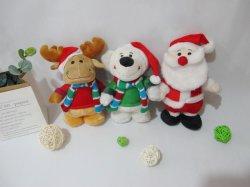 プラシ天のおもちゃのクリスマスのシカのスノーマン