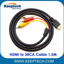 HDMI к 3кабель RCA 1.5m 5 футов видео аудио кабель для HDTV
