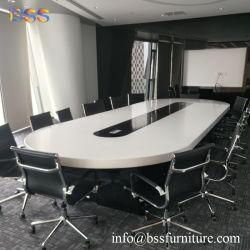 Personalizar personalizado-fábrica Conferência grossista de mesa com cadeiras luxo moderno branco inteligente superfícies Corian topo em mármore de pedra de quartzo de acrílico Oval Mesa de conferência