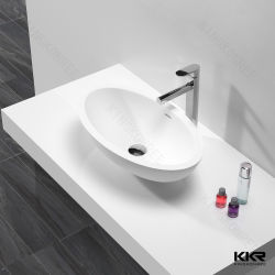 Современные Sanitaryware твердой поверхности полимера камня раковину в ванной комнате 191214