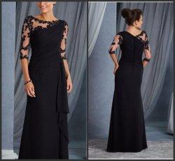 Втулка 3/4 чисто вечер платья черного кружева шифон мать невесты жених платье Lb18310