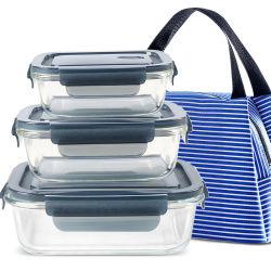 Insieme riscaldabile del contenitore di memoria dell'alimento della preparazione del pasto di vetro di Borosilicate