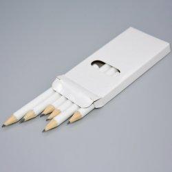 Commerce de gros de la Papeterie convivial de 3,5 pouces en bois recyclé 6 pcs cadeau hexagonal corps blanc Crayon HB dans Boîte blanche