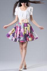 Custom летом короткую втулку на пляже Collarless составного шелкового платья