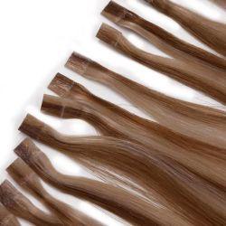Venda por grosso de qualidade elevada 10A Remy Virgem Humana Cabelos Natural Extensão Tecelagem de fio de cabelo trama de cabelo, pêlos de fita extensão da ponta da unha embalagens personalizadas