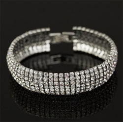 7 linhas de moda quente Crystal Casamento Rhinestone Suite Cadeia Hoteleira Bracelete Jóias Pulseira jóias para Mulheres
