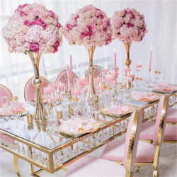 Современные розовыми бархатными раунда задней панели из нержавеющей стали свадебных ресторанов Dior место Председателя