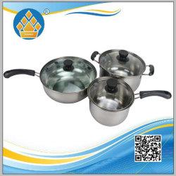 3pcs ustensiles de cuisine de haute qualité des pots en acier inoxydable ensemble de batterie de cuisine