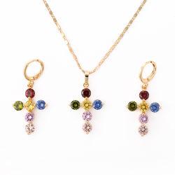 925 Silver/Ronda de latón y CZ Cruz Aretes Collar de diseño conjunto de joyas bisutería
