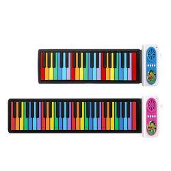 Comercio al por mayor de mano flexible de silicona Piano Roll up portátil de instrumentos musicales piano electrónico plegable Teclado suave instrumento musical de juguete